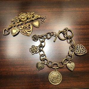 Jewelry - Vintage Victorian Heart Charm Brooch & Bracelet